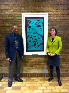 "Dr. Herle comments : ""It is inspiring to see Chris Paul 's ""Salish Sea"" alongside Churchill College's rich collection of artworks and to see Professor Wickramasinghe's work honored in this way!"""